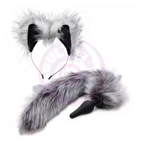 Grey Wolf Tail Anal Plug and Ears Set