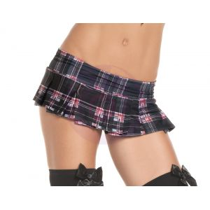 Black Plaid Pleated Mini Skirt - Medium/ Large