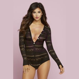 Knit Long Sleeve Romper - Medium - Black