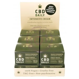 Cbd Daily Triple Strength Intensive Cream - 12 Count Display With Tester