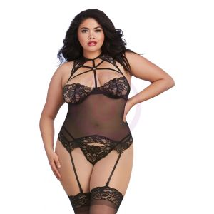 Bustier and G-String - Queen Size - Black