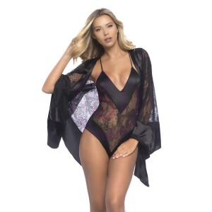 All Over Lace Handkerchief Robe With Wide Satin Edges - Black - One Size
