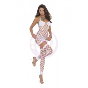 3 Piece Diamond Net Mini Dress - One Size - White