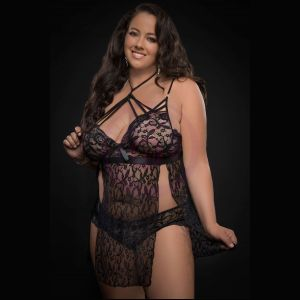 2pc Strappy Halter Laced Babydoll With Side Slits and Open Back - Queen Size - Black