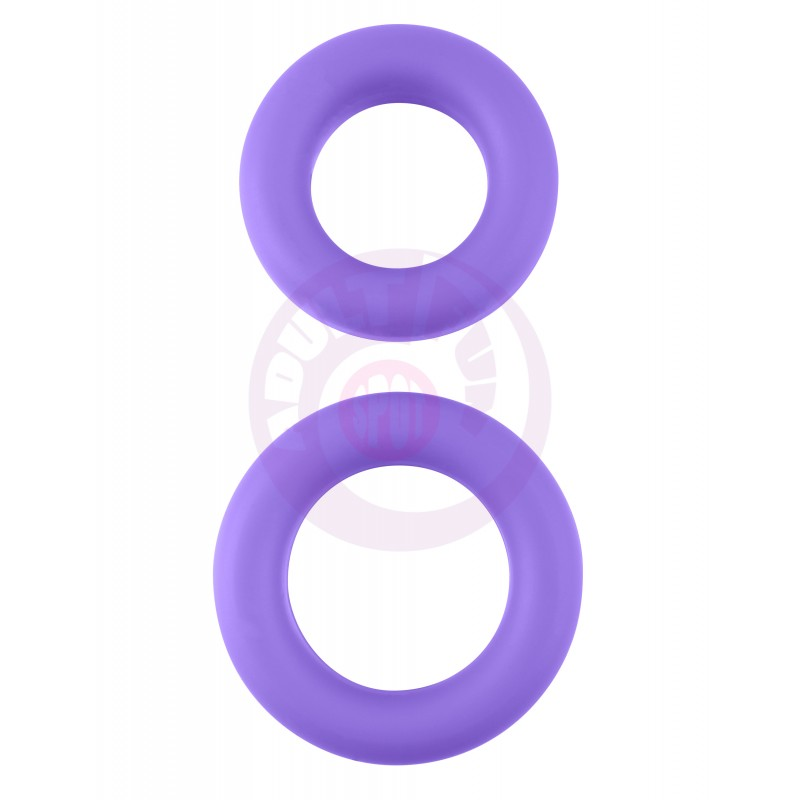 Neon Stretchy Silicone Cock Ring Set - Purple