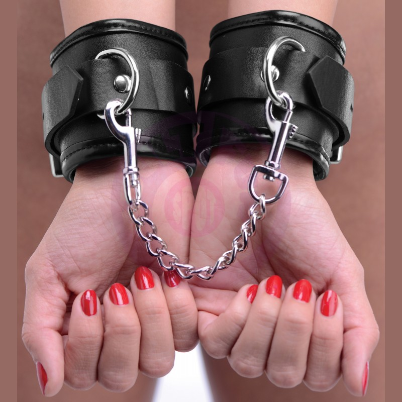 Locking Padded Wrist Cuffs W/chain
