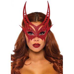 Glitter Die Cut Devil Masquerade Mask - Red