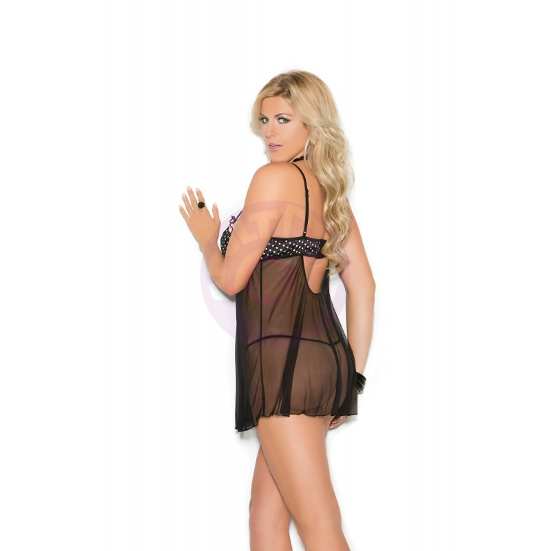Babydoll With Underwire Demi Cups - Queen Size 2x - Black/ Pink