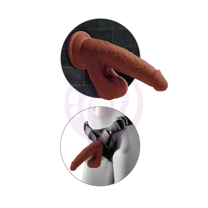 8 Inch Triple Density Cock With Swinging Balls -  Brown