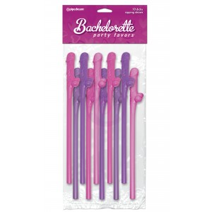 Bachelorette Party Favors 10 Dicky Sipping Straws - Pink & Purple