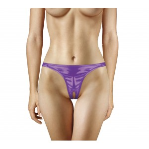 Adjustable Vibrating Panty With Bullet and Pleasure Hole - Purple