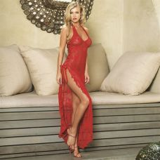 Rose Lace High Slit Gown and G-String - One Size - Red