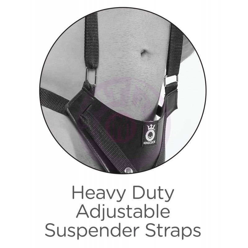 "King Cock 11"" Two Cocks One Hole Hollow Strap-on  Suspender System - Flesh"