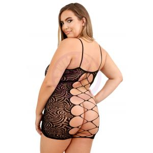 Wild Nights Harness Stretch Lace Dress With Open  Back - Queen Size