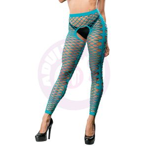 Front Mesh and Side Design Crotchless Leggings - One Size - Turquoise