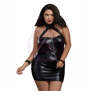 Chemise and Wrist Cuffs - Queen Size - Black