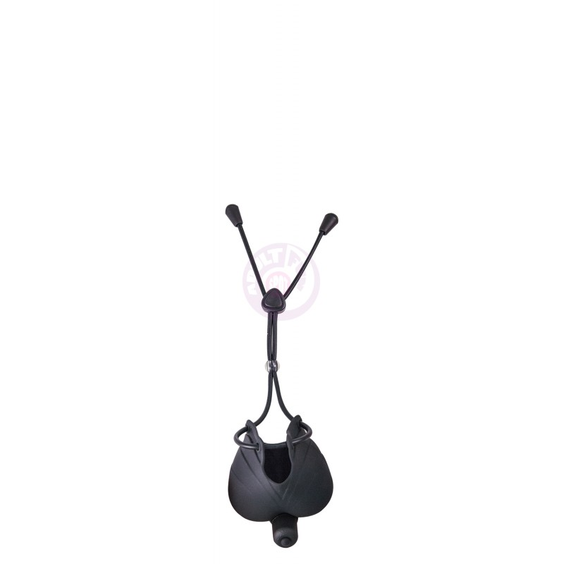 My Cock Ring Vibrating Scrotum Pouch & Cinch -  Black