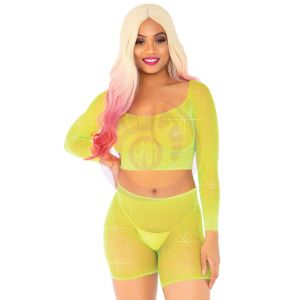 2 Pc Rhinestone Fishnet Crop Top and Biker  Shorts - One Size - Neon Yellow