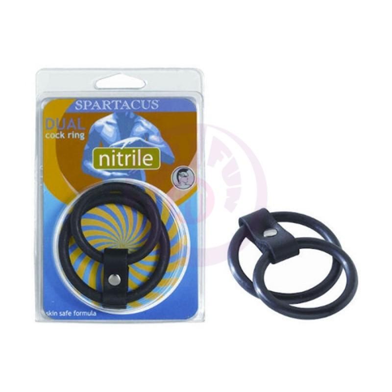 Nitrile Dual Cock Ring - Black