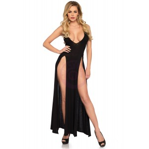Deep-v Dual Slit Jersey Maxi Dress - Small -  Black