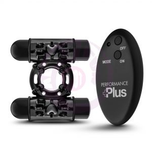 Performance Plus - Double Thunder - Wireless Remote Rechargeable Vibrating Cock Ring - Black