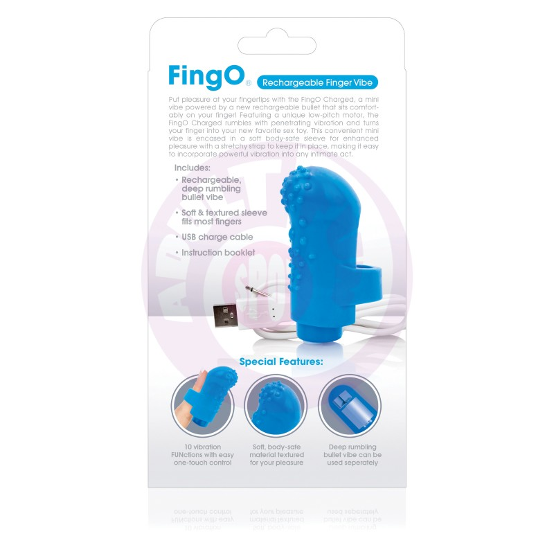 Charged Fingo Rechargeable Finger Vibe - Blue -  6 Count Box