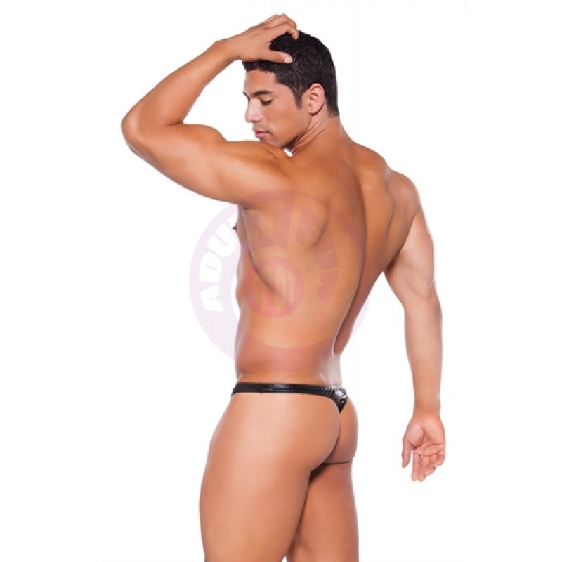 Wet Look Thong - One  Size - Black