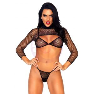3 Pc. Industrial Net Bikini Top Thong and Long  Sleeved Crop Top - One Size - Black