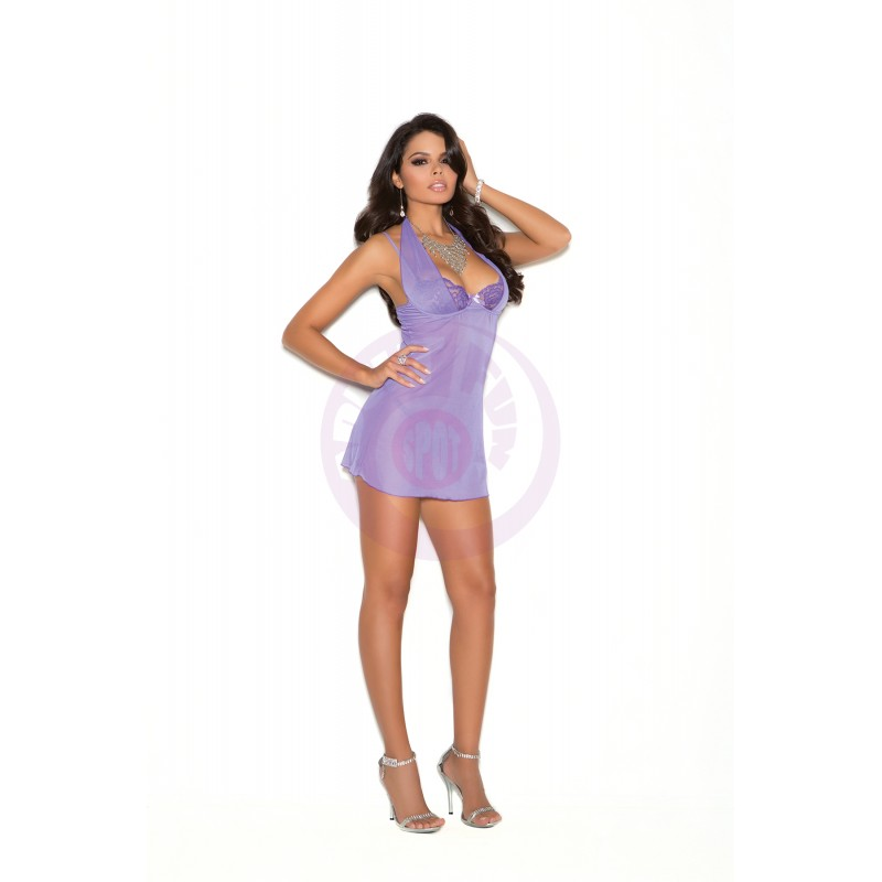 Underwire Demi Cup Babydoll  - Large - Purple