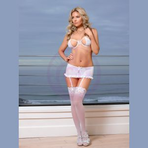 Pure Bliss Bra Garter Skirt and G-String Set - Small / Medium - White