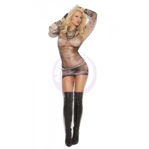 Diamond Net Mini Dress - One Size - Black