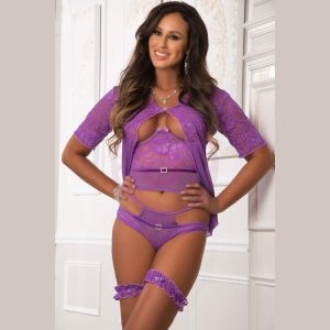 4pc Open Cup Top and Open Rear Cheekini With Robe - One Size - Orchid