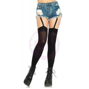 Attached Clip Garter Thigh Highs - One Size