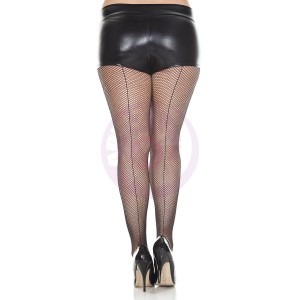 Backseam Fishnet Pantyhose - Queen Size - Black