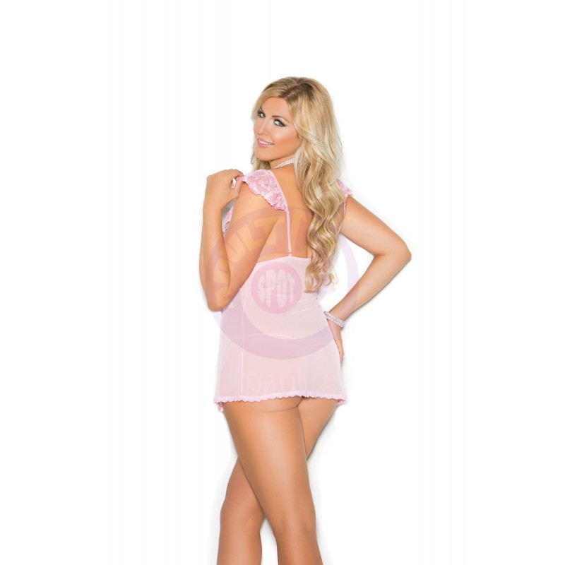 Mesh & Satin Babydoll  - Queen Size 2x - Pink