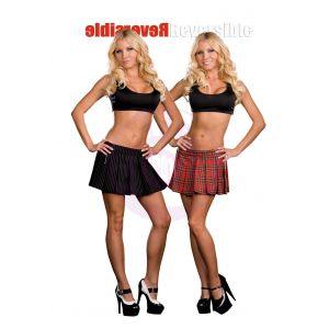 Dreamgirl Reversible School Girl / Gangster Skirt - Multi - Large