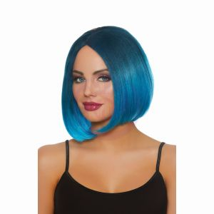 Dreamgirl Mid-Length Steel Blue/bright Blue Ombre Wig