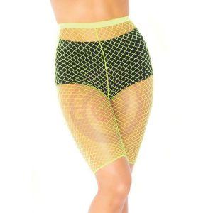 Industrial Fishnet Biker Shorts - One Size - Neon Yellow