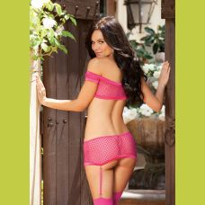 4 Pc. Fishnet Stretch Lace & Suspender Teddy -  One Size - White