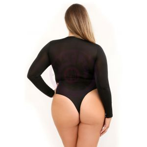 Up All Night Long Sleeve Opaque Bodysuit With  Snap Closure - Large/ X-Large