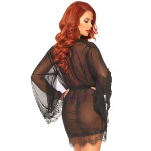 3 Pc Sheer Short Robe With Eyelash Lace Trim and Flared Sleeves - Black - M/l