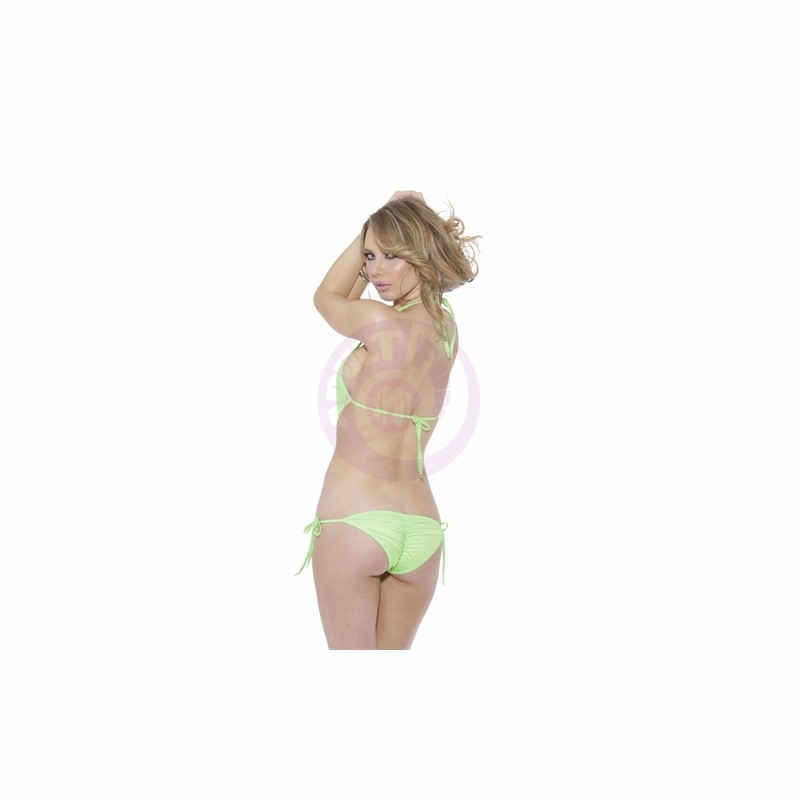 One Piece Tie Side With Ring Sling Shot - Neon Green - One Size