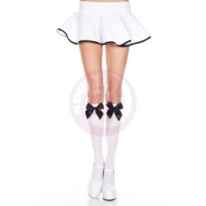 Satin Bow Knee Hi - One Size - White / Black