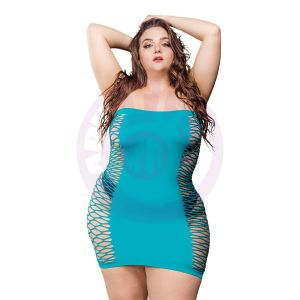2 Way Tube Mesh Dress - Turquoise - 1x-4x