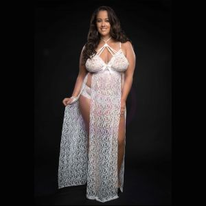 2pc Strappy Halter Laced Night Gown With Side Slits and Open Back - Queen Size - White