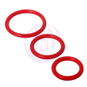 Trinity Silicone Cock Rings - Red