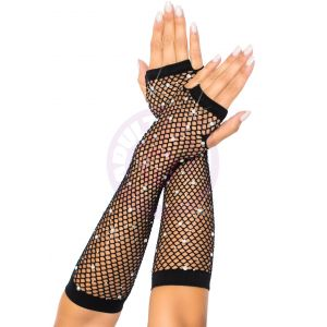 Rhinestone Fishnet Arm Warmers Black