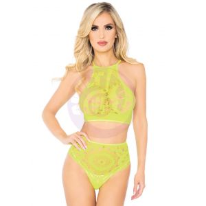 2 Pc Crop Top & Panty - Neon Yellow - M/l