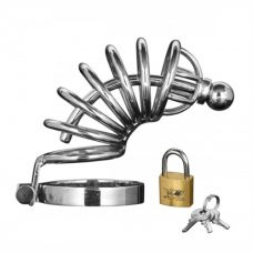 Asylum 6 Ring Locking Chastity Cage - Small/medium