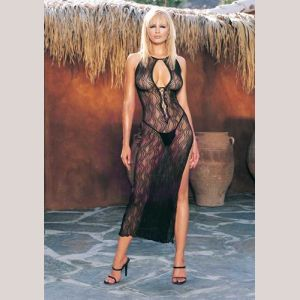 Swirl Lace Long Gown and G-String  - One Size - Black